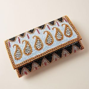 NWT Anthropologie Paisley Beaded Clutch